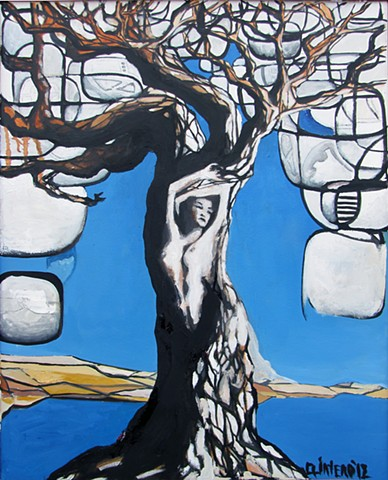 Jordan Quintero, Painting, Contemporary Art, Contemporary Figurative Painting, Mythological Art, Surrealist Art, Urban, Organic, Street Art, Trees, Transformation, Visonary Art