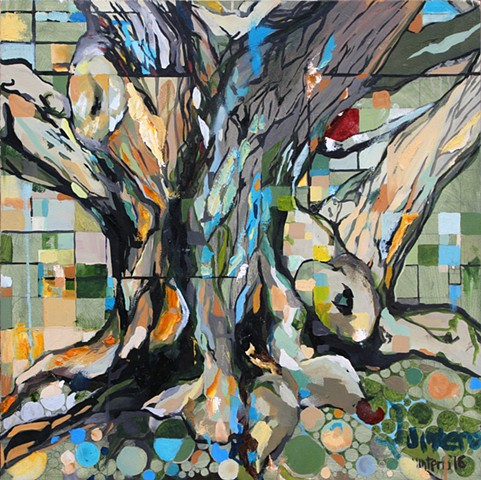 oil painting, contemporary art, figurative abstraction, flowers, metaphysics, landscape, trees, branches, color theory