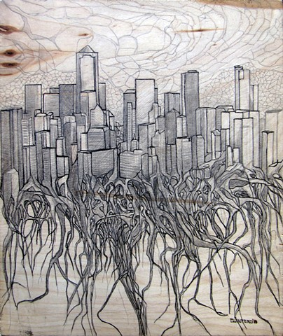 Jordan Quintero, drawing, mixed media, cityscape, city roots, roots, organitecture, drawings on wood
