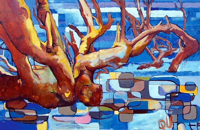 trees, oil painting, abstract representation, street art, blue painting