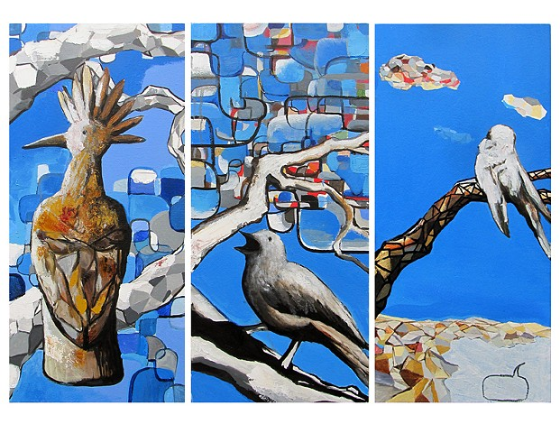Jordan Quintero, Painting, Contemporary Art, Birds, Contemporary Figurative Painting, Mythological Art, Surrealist Art, Urban, Organic, Street Art, Trees, Transformation, Visonary Art