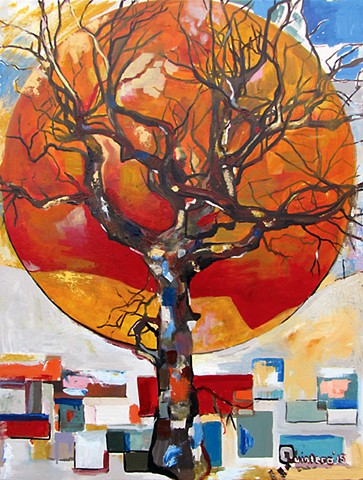 abstract, trees, painting, bright, colorful, oil painting