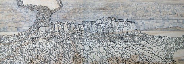 architecture, cityscape, skyline, fantasy city, city roots, drawing on wood,