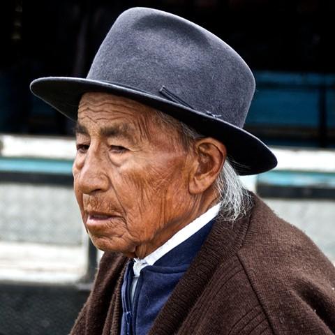 Elderly gentleman, Otavalo Market, Ecuador