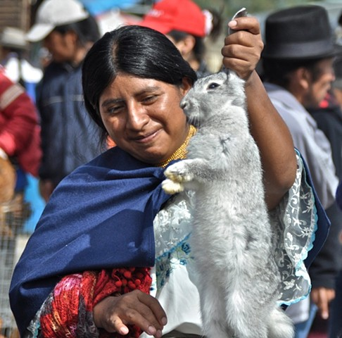 Buying a rabbit in the Otavalo Valley, Ecuador