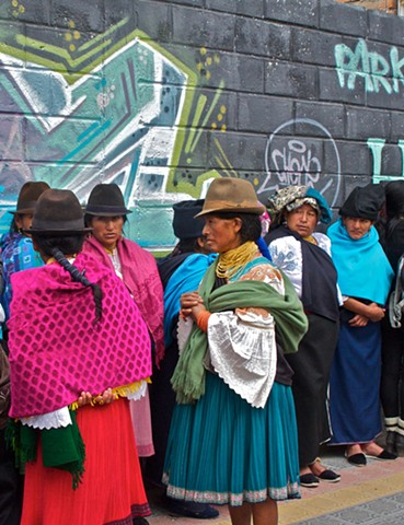women from the Otavalo Valley, Ecuador, Waiting for the bank