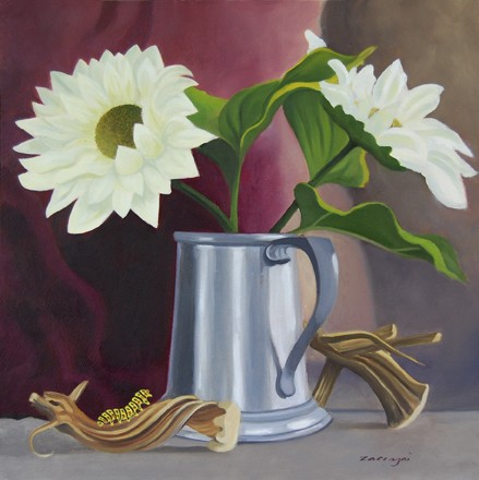 oil painting of white daisies in a pewter mug with pumpkin stems and a catipillar