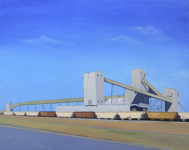 oil painting of architectural subject matter, American Rock Salt Company