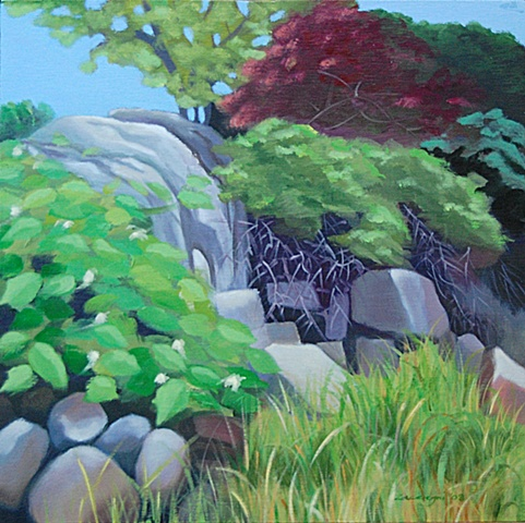 oil painting of rocks at Martin's Point, Friendship, Maine