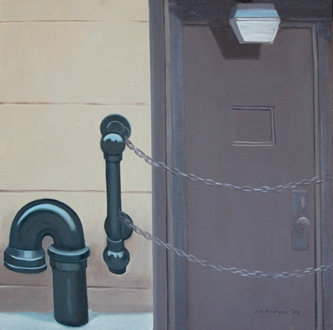 oil painting of door, fire hydrant and chain in New York, NY