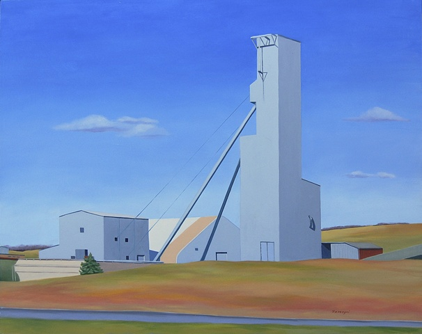 oil painting on panel of the American Rock Salt Mine near Geneseo, NY