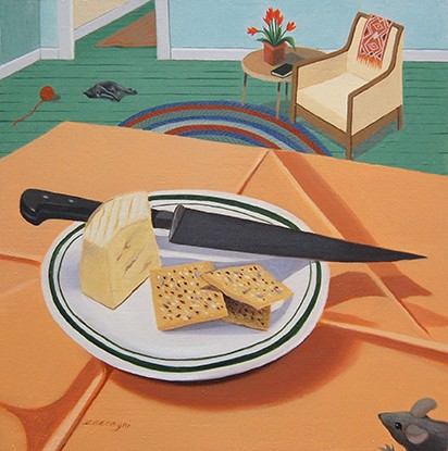 oil painting, still life, crackers, cheese, mouse, cat, knife