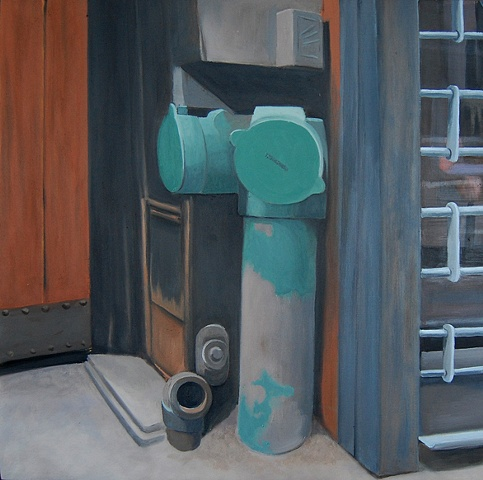 oil painting of a green double fire hydrant in New York, NY