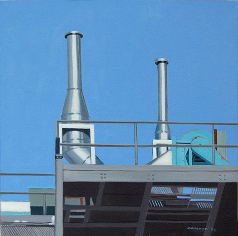oil painting of ventilation chimneys on roof of Harder Hall NYSCC at Alfred University