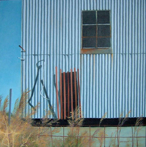 oil painting of abandoned building in a boatyard, Long Island, NY