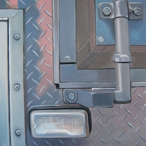 oil painting of diamond plate siding on a tractor trailer service truck in New York, NY