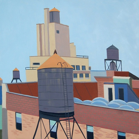 oil painting of water towers in New York, NY