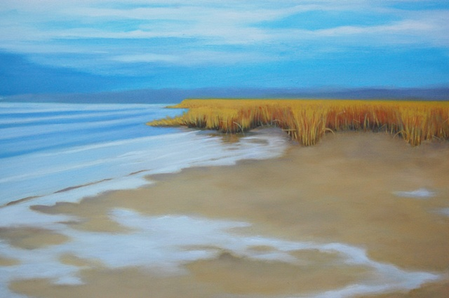 oil painting of beach, Bayville, NY