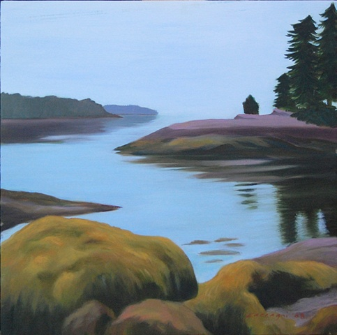 oil painting of landscape, Timber Point, Friendship Maine