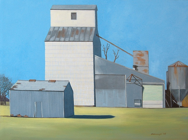 oil painting of a grain silo in Kansas