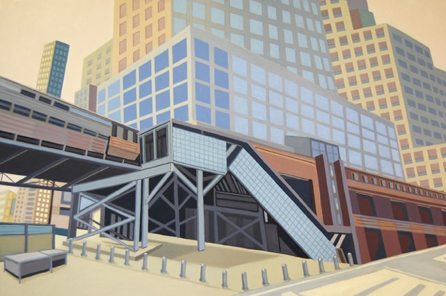 architectural oil painting of a cityscape, street, and overpass