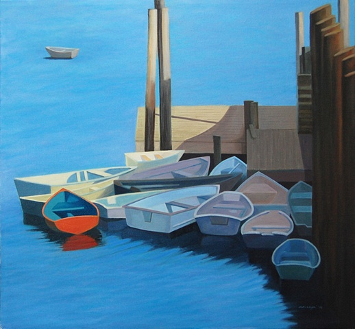 oil painting of skiffs, boats,  docked at Port Clyde, Maine