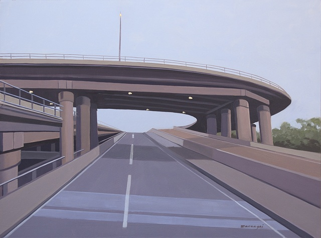 oil painting on panel of highway underpasses and overpasses near New York, NY