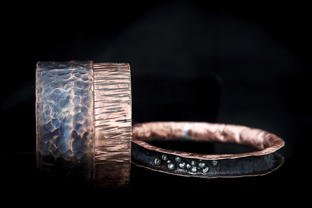 Copper cuff and bracelet, hand crafted.