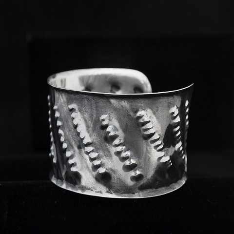 Sterling Silver, Pounded and Oxidized Cuff