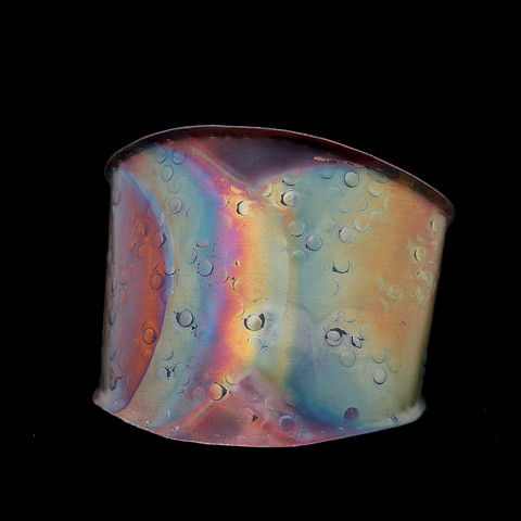 Copper Cuff, Formed, Raised, Fire Oxidized