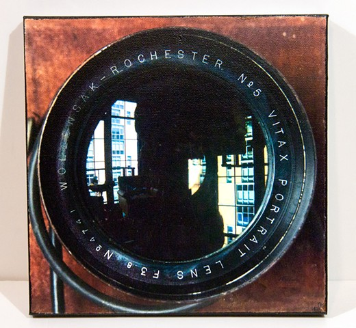 Rear Window reflected in Large Format Studio Camera.  Image Transfer Print