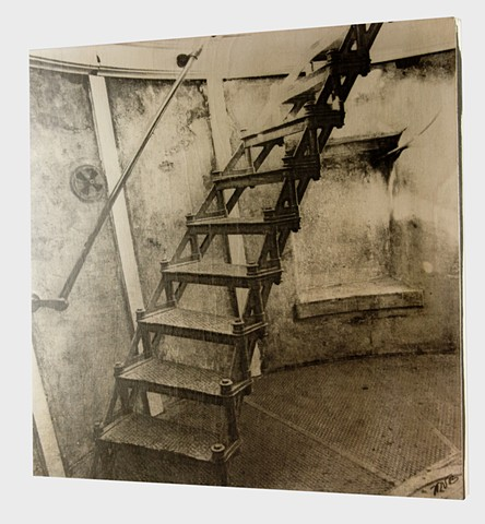 Top of the Lighthouse Steps. Hand Printed in Platinum Palladium on Cradled Birch Wood