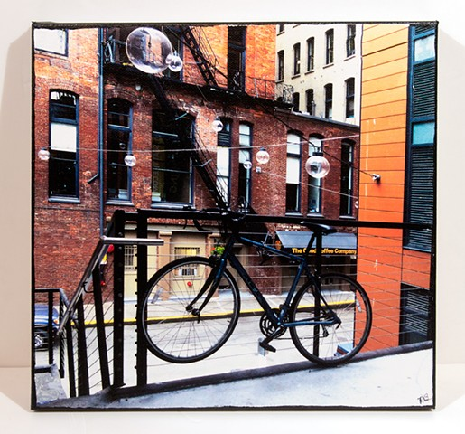 Image Transfer on Canvas; The Bicycle