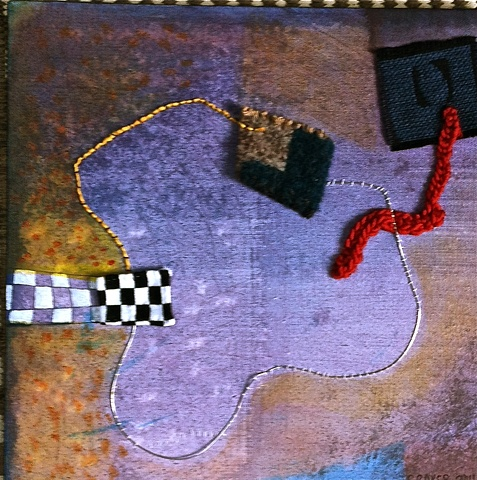 mixed media with textiles on canvas