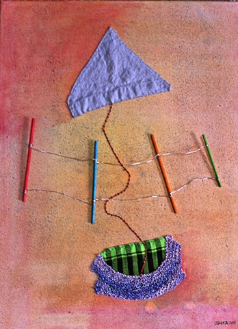 textiles and paint on canvas