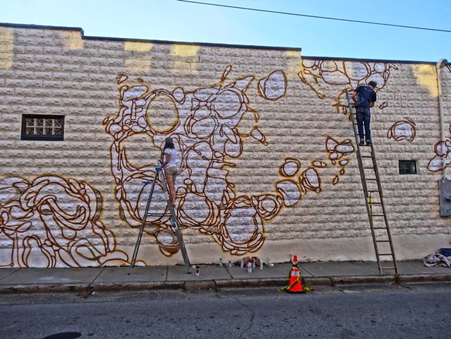 Working with Jon Graham on the Biscuit Head Mural, Photo taken by Zen Sutherland
