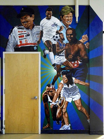 SPORTS mural at the W.P.L.L.P.C.S.