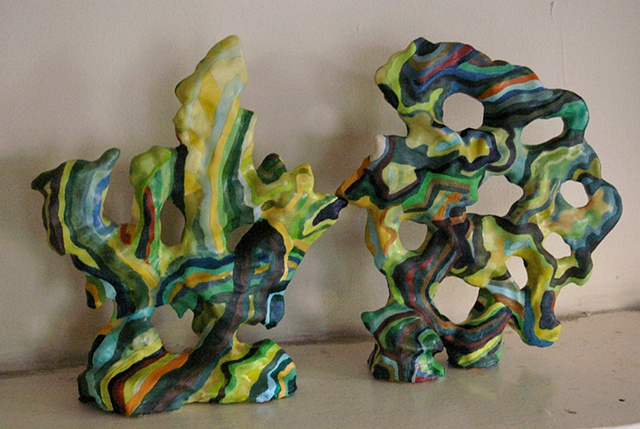 "Two Gongshi 10"" x 8"" x 5"" Acrylic and glue over air dry clay"
