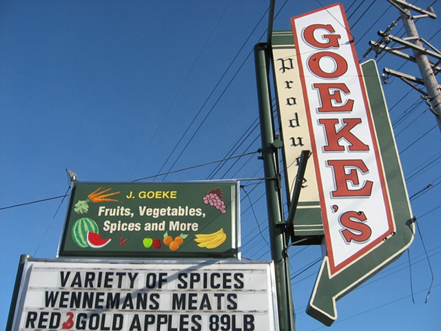 Goeke's Produce sign painting.