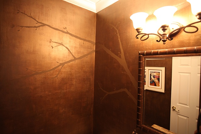 metallic gold with tree branch paint by the design deli