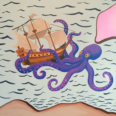 Detail Map Mural Octopus