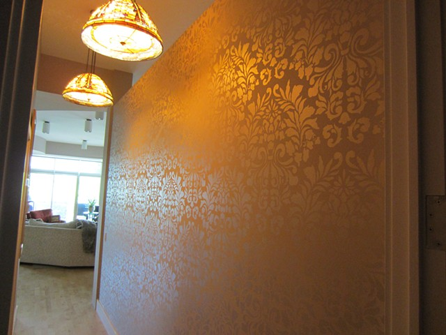 Tone on tone metallic damask stencil