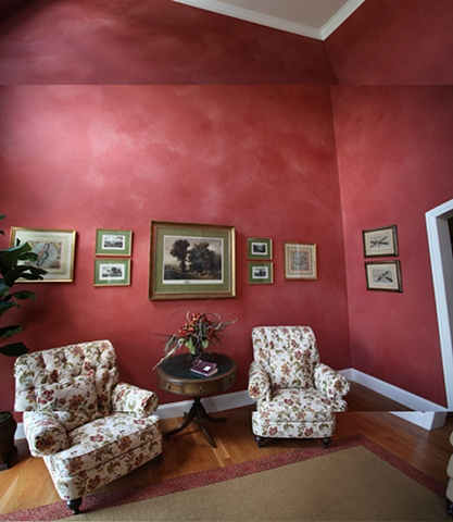 Red glazed walls.