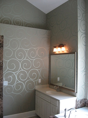 Metallic swirl master bath.
