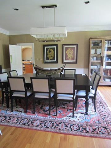 Gold linen 'panels' in dining room.