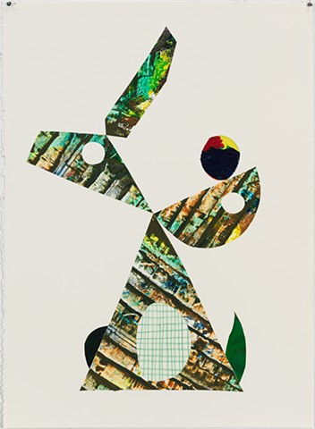 modern minimalist collage of green abstract figure by Michelle Wasson