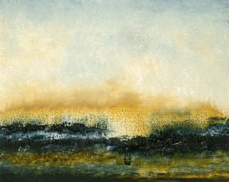 Landscape, abstract, deep blue, gold, intense, rich