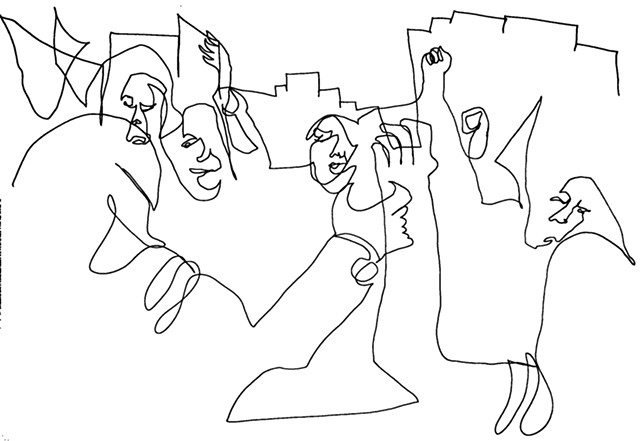 line drawing for We were making history 3