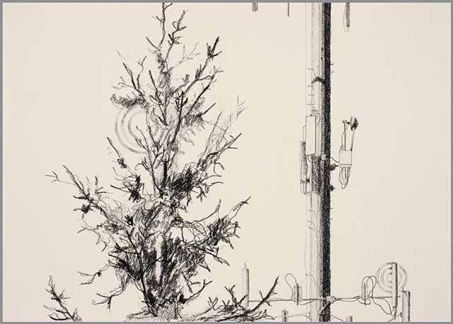 cell tower drawing cellphone charcoal