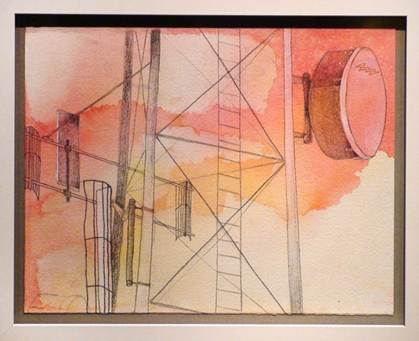 cell tower drawing painting water-color